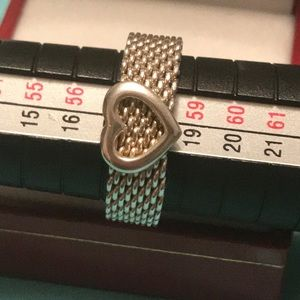 Authentic Tiffany & Co Mesh Ring with heart